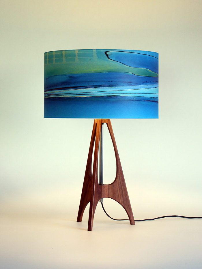 """The 41"" lamp in Black Walnut with 15"" blue ""Boardwalk"" shade"