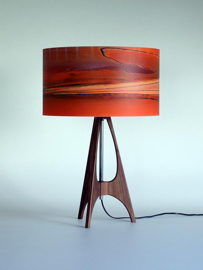 """The 41"" lamp in Black Walnut with 15"" orange ""Boardwalk"" shade"