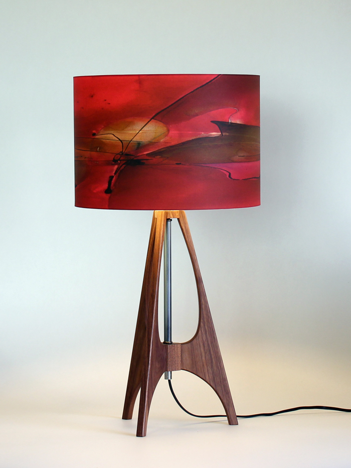 """The 41"" lamp in Black Walnut with 12"" ""Ginger"" shade"