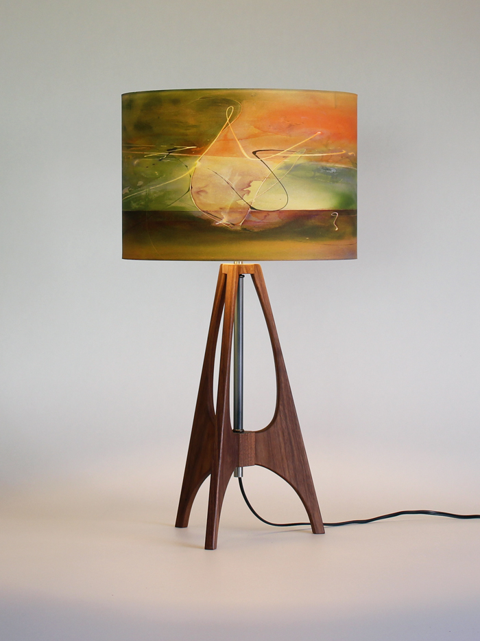 """""""The 41"""" lamp in Black Walnut with 12"""" """"Lichen"""" shade"""