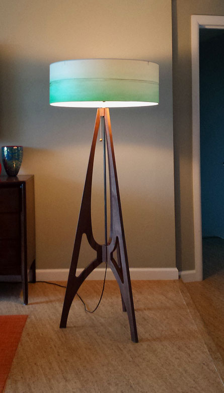"""The 42"" lamp in Black Walnut with 24"" ""Aqua Lines"" shade"