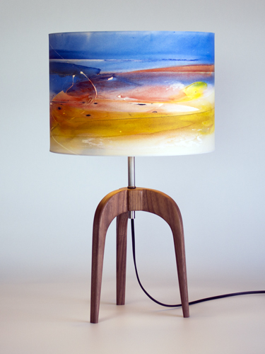 """The """"Arch"""" lamp in Black Walnut with 12"""" """"Last Light"""" shade"""
