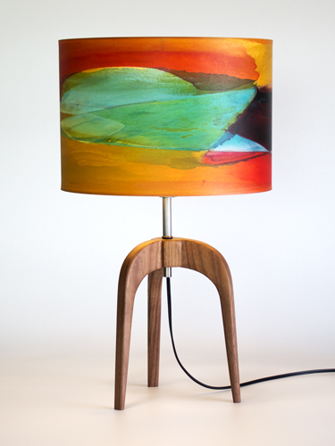 "The ""Arch"" lamp in Black Walnut with 12"" ""Citrus"" shade"