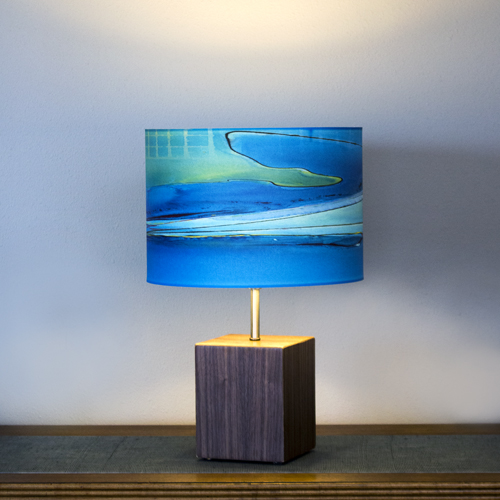 """Block Lamp"" in Black Walnut with 12"" blue ""Boardwalk"" shade"