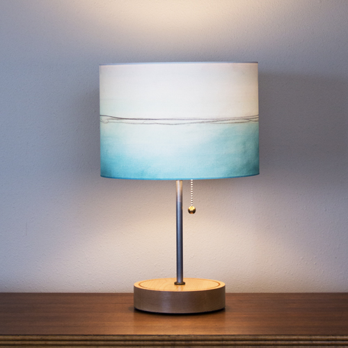 """Simple Stem"" lamp in Ash with 12"" ""Aqua Lines"" shade"