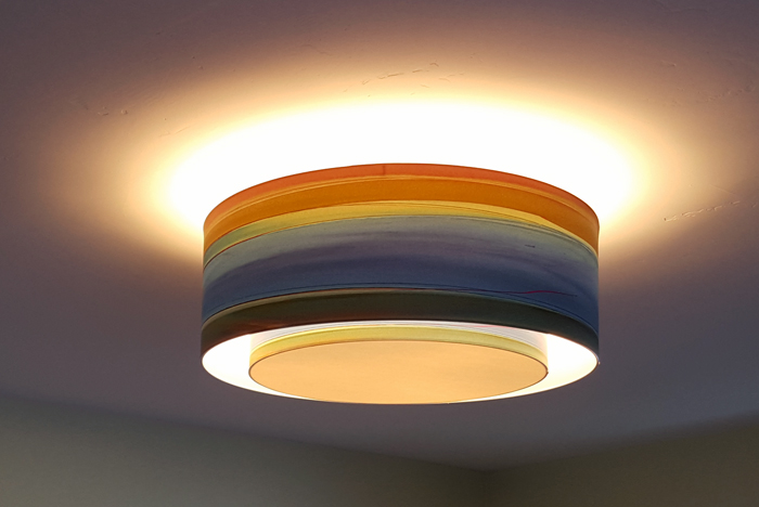 "Installation of ""In The Mix"" double pendant 24"" with recessed custom 18"" diffuser.  Overall dimensions 24""x9""."