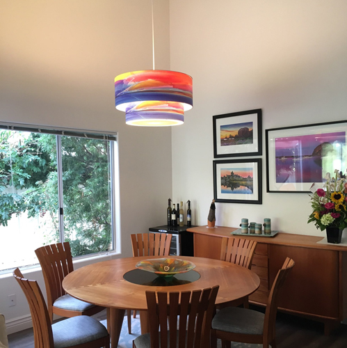 "Installation of ""Twilight"" 24"" over 18"" standard double drum pendant. Overall dimensions 24""x16"""