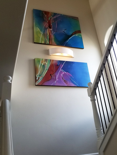 """Whole Foods"" split image with custom understated sconce.  Painting 40""x72"", sconce 6""x24""."